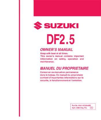 suzuki owners manual df 2 5 2017 99011 97j50 03b rh brownspoint com suzuki df 250 owners manual Suzuki DF250 Problems