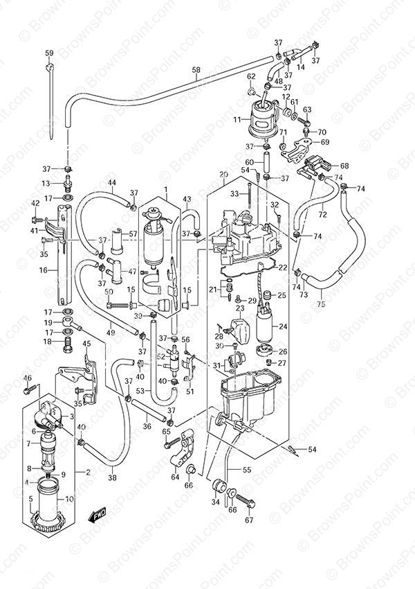 fig  13 - fuel pump  fuel vapor separator - suzuki df 250 parts listings