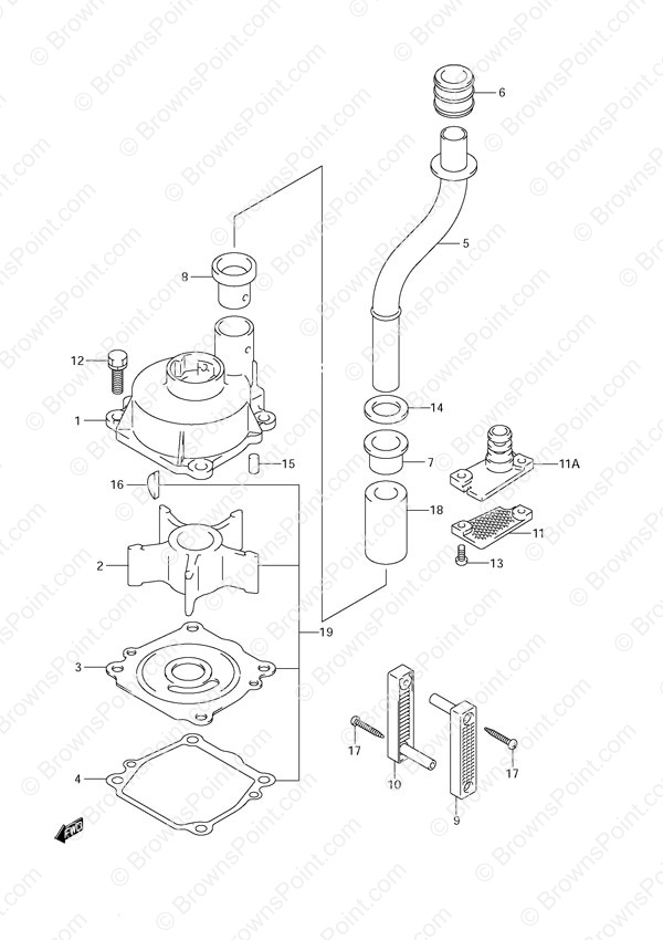 outboard engine diagram clutch fig 13 water pump suzuki df 140 parts listings 2002  fig 13 water pump suzuki df 140 parts listings 2002