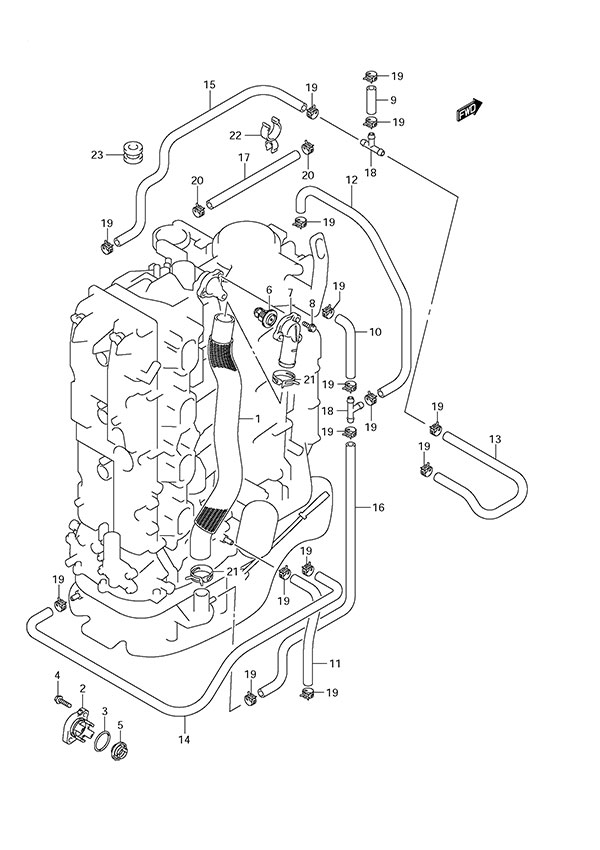 Fig 35  Thermostat  Suzuki DF 175 Parts Listings  SN