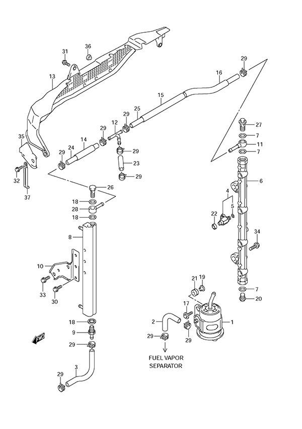 fig  17 - fuel injector - suzuki df 150 parts listings
