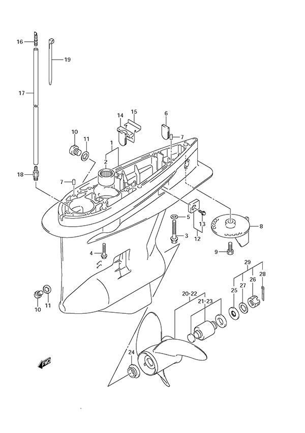 fig. 66 - gear case - suzuki df 175 parts listings - s/n 17502f