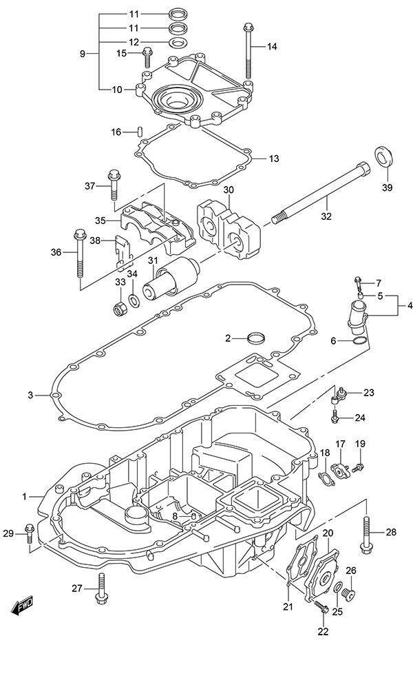 Fig  140 - Engine Holder - Suzuki DF 150 Parts Listings - S/N 15002F
