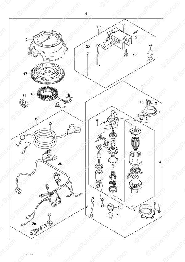 Fig  80 - Opt: Starting Motor - Manual Starter - Suzuki DF 25 V-Twin