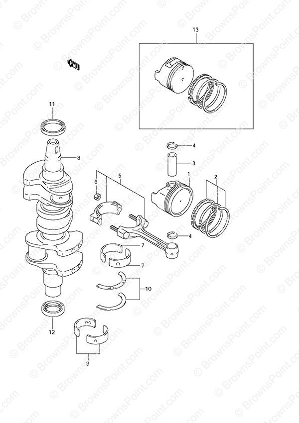 fig  5 - crankshaft - suzuki df 40 parts listings - 2010  n 04002f