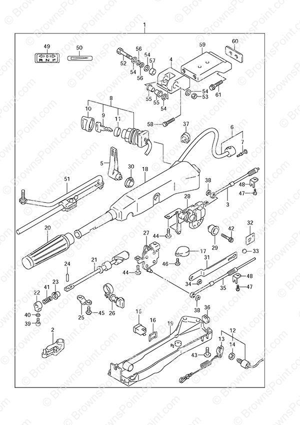 fig  65 - opt  tiller handle - suzuki df 50a parts listings - 2012  n 05003f