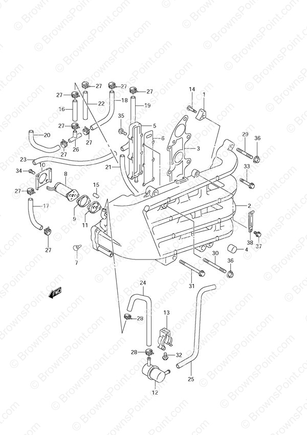 fig  7 - inlet manifold - suzuki df 70 parts listingss
