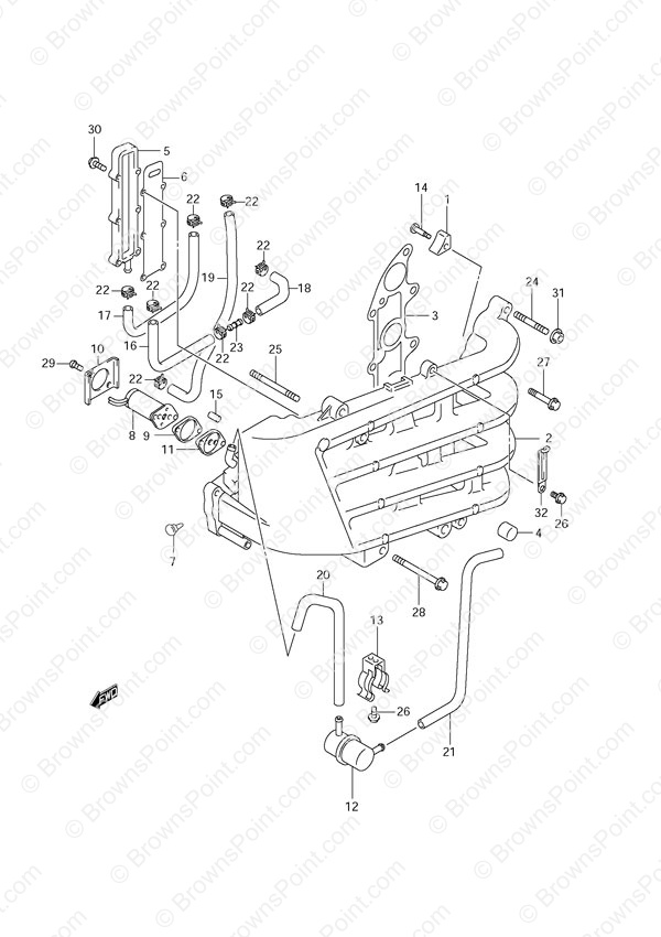 fig  10 - inlet manifold - suzuki df 70 parts listingss