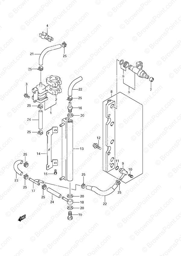 fig  13 - fuel injector - suzuki df 70a parts listings - 2013  n 07003f