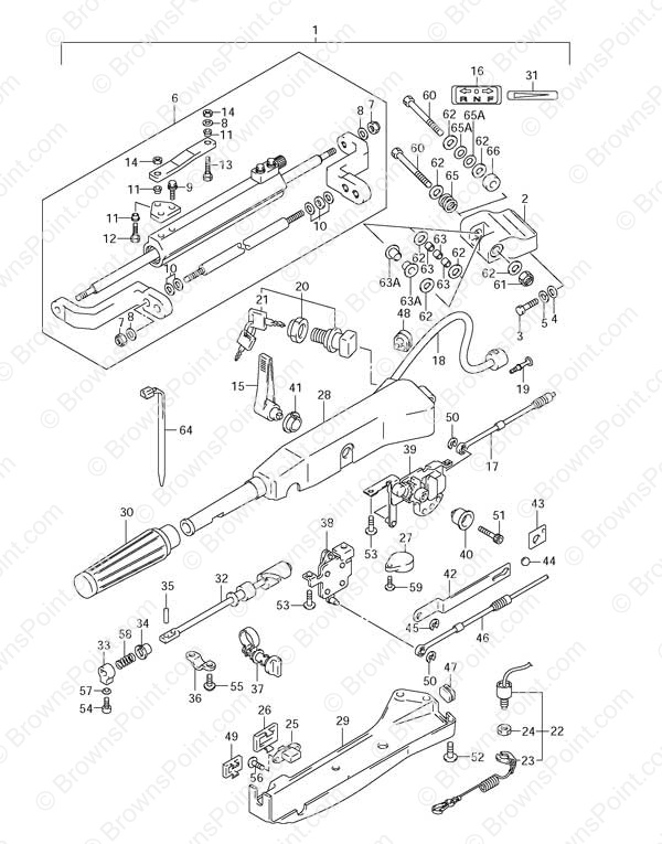 fig. 61 - opt: tiller handle - suzuki df 115 parts listings - 2001, Wiring diagram