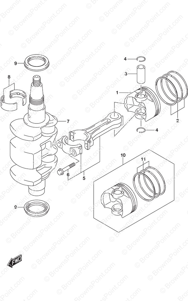fig  116 - crankshaft - suzuki df 9 9b parts listings - 2017  n 00995f