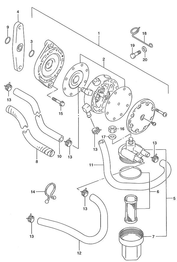 fig  13 - fuel pump - suzuki dt 140 parts listings