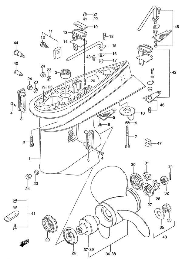 fig  45 - gear case - suzuki dt 140 parts listings
