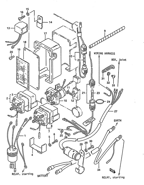 fig016 fig 16 electrical (1) suzuki dt 140 parts listings 1983 to 1985 Boat Electrical Wiring Diagrams at crackthecode.co
