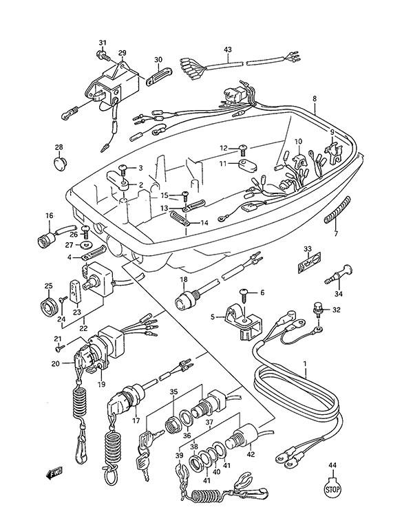 fig016 fig 16 harness suzuki dt 25c parts listings 1989 to 2000 Suzuki DT 140 at suagrazia.org