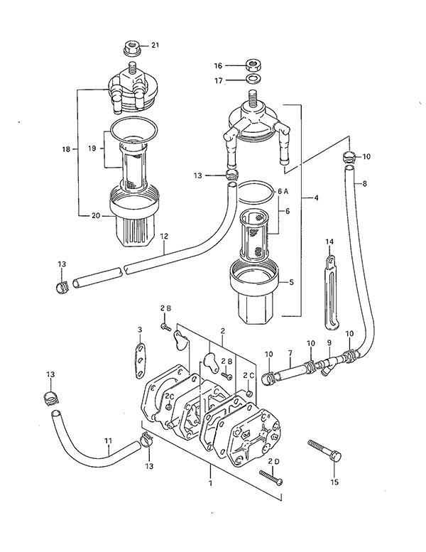 fig  6a - fuel pump - suzuki dt 40 parts listings