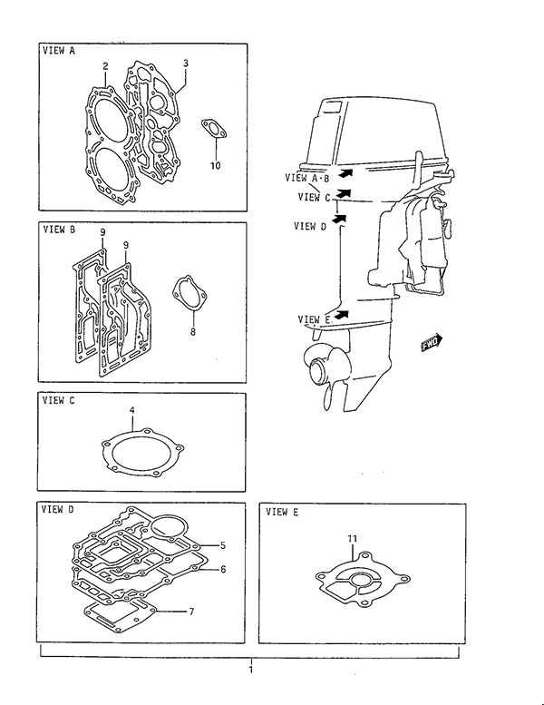 fig  49 - gasket set - suzuki dt 40 parts listings