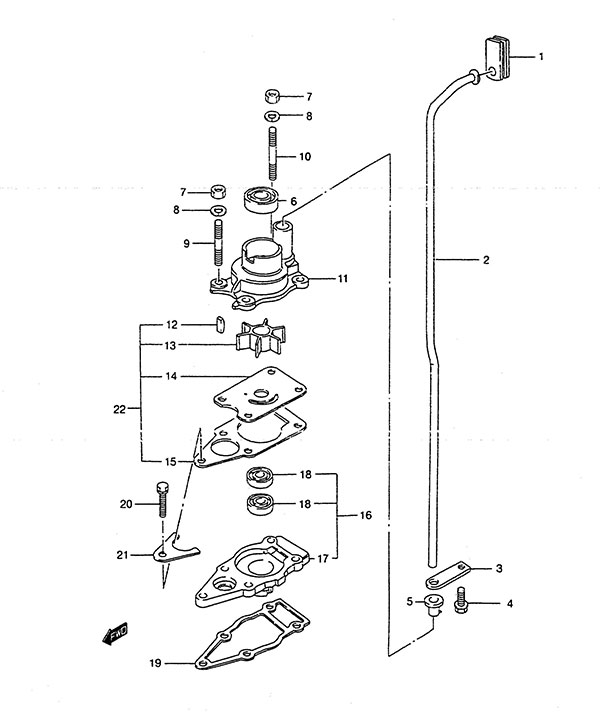 Fig  9 - Water Pump - Suzuki DT 4 Parts Listings - 1988 to 1998