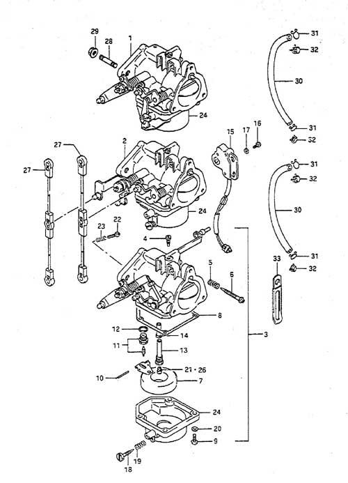 Fig. 4 - Carburetor - Suzuki DT 55 Parts Listings - 1988 to 1997