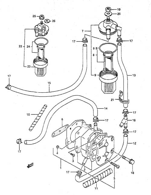 suzuki outboard parts dt 55 parts listings browns point marine 1977 Evinrude 115 HP Diagram suzuki dt 55 fig 6a fuel pump