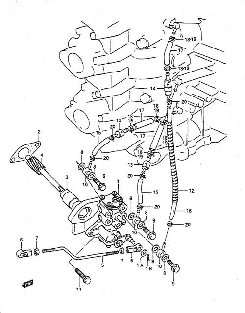 Fig. 7 - Oil Pump - Suzuki DT 55 Parts Listings - 1988 to 1992