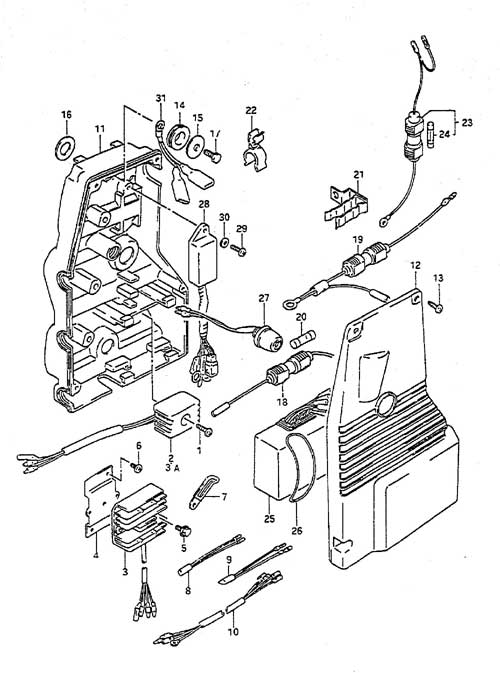 Fig. 13 - Electrical - Suzuki DT 55 Parts Listings - 1988 to 1997
