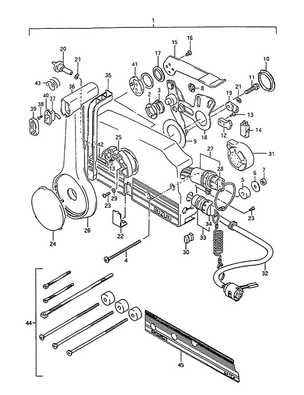 fig033 fig 33 remote control suzuki dt 75 parts listings 1988 to 1992 Suzuki DT40 Outboard Parts Diagrams at mifinder.co