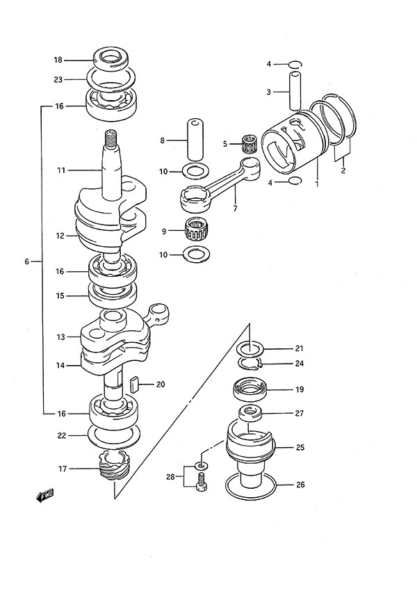 fig  2 - crankshaft - suzuki dt 9 9c parts listings